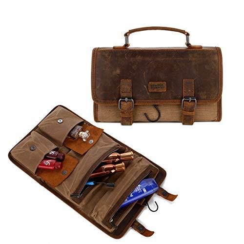 BAOSHA Kulturtasche zum Aufhängen Faltbarer Reise Kulturbeutel mit Tragegriff, Canvas Toiletry Bag, Waschtasche, Waschbeutel für Herren XS-08 (Braun)
