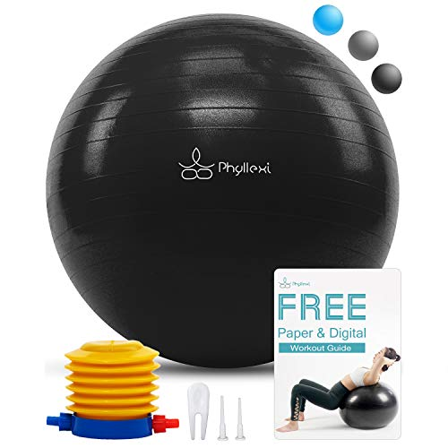 PHYLLEXI Exercise Ball Extra Thick - Pro Grade Anti-Burst Stability Yoga Ball (55-85cm), Fitness, Pilates, Birthing Ball Chair with Pump, Supports 2200lbs (Black, 75cm)