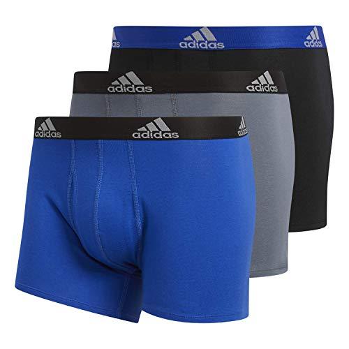 adidas Herren-Unterwäsche, Stretch, Baumwolle, 3er-Pack, Blau / Schwarz, Onix / Schwarz / Blau / Blau, Größe M