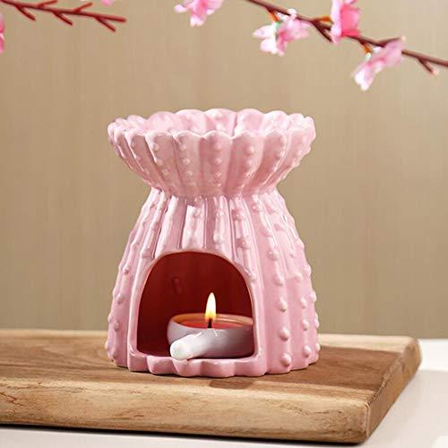 ZHIRCEKE Keramik Duftlampe/VerdampferDuftlicht - Keramik aushöhlen Blumen Aroma Lampe Öl Diffusor, Keramik Räuchergefäß Öl Kerze Ofen Teelicht Halter Kerzenhalter, Oilburner,C
