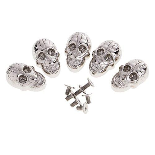 Sharplace 5 Set de Punky Remaches Pernos deTornillo de Cabeza de Cráneo DIY Artesanías Manulidad - Plata