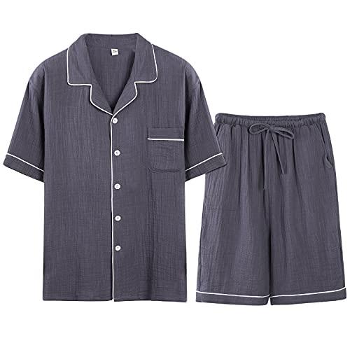 パジャマ メンズ レディース 綿100% 二重ガーゼ ルームウェア 夏 部屋着 半袖 短パンツ 上下セット ポケッ...