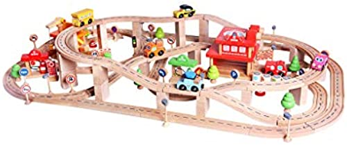 LINGLING-Verfolgen Kinder Toy Track Set Stadt Holz Gleiten Track Puzzle 2 Jahre alt (Größe   L)