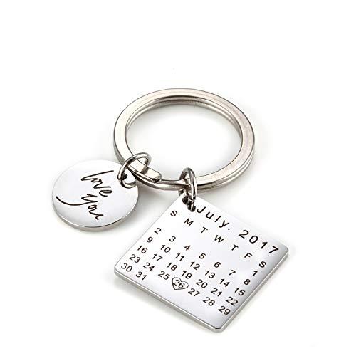 Mainbead Incisione Personalizzata Data Calendario Portachiavi Personalizzato Data Pendente Portachiavi per Coppie Innamorate San Valentino Compleanno Anniversario Regalo Speciale Giorno (Argento)