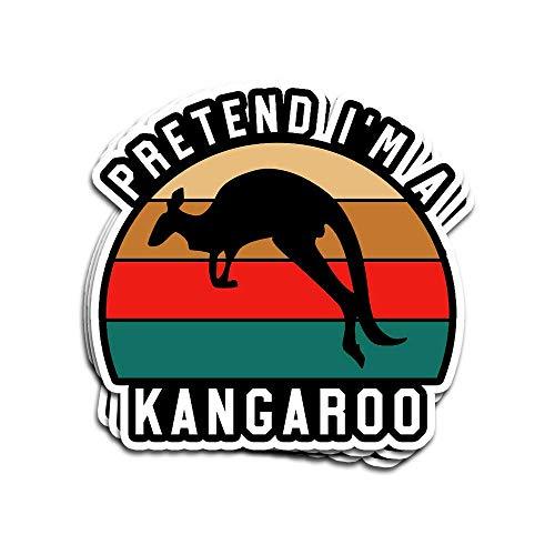 """Aufkleber, einfache Halloween-Kostüme, Känguru, Aufschrift """"Pretend I'm A Känguru"""", 7,6 x 10,2 cm, gestanzt, für Laptop, Fenster, Auto, Stoßstange, Helm, Wasserflasche, 3 Stück"""