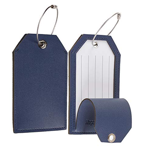 Toughergun Leather Instrument Baggage Bag Luggage Tags with Privacy Cover 2 Pcs Set (Blue Navy)