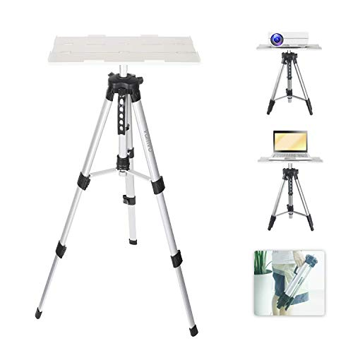 Vamvo Aluminum Universal Projector Tripod Stand, Adjustable Laptop Stand, Multi-Function Stand, DJ Equipment Holder Mount, Adjustable Height 16'' to 45'' with Tray, Suitable for Home Theater or Stage