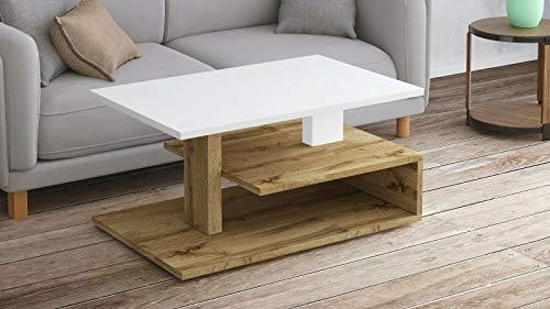 Endo-Moebel Couchtisch Odi Wohnzimmertisch Sofatisch modern Ablage Design Tisch zweifarbig (Wotan Eiche)