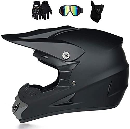 Casco de MTB de cara completa, con gafas de gafas Guantes de máscara, para cascos de motocross para hombre negro fuera de carretera Casco para niños Casco de caída de motocicleta adulto ( Size : M )