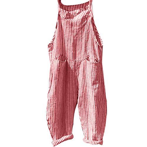 Zimuuy Damen Jumpsuit Overalls, Frauen Verband Streifen Latzhosen Mode Bodysuit Spielanzug (Rot, XL)