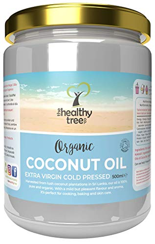 Organic Extra Virgin Coconut Oil by TheHealthyTree Company - for Cooking, Baking, Hair and Skin - Vegan Cold Pressed Raw Organic Coconut Oil (500ml Glass Jar)