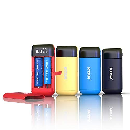 XTAR PB2S ladegerät 18650 xtar Batterieladegerät Schnelles Ladegerät USB C akku schnellladegerät 18650 Ungeahntes 20700 21700 Ladegerät USB ladegerät 18650 Batterien Nicht enthalten (Black)