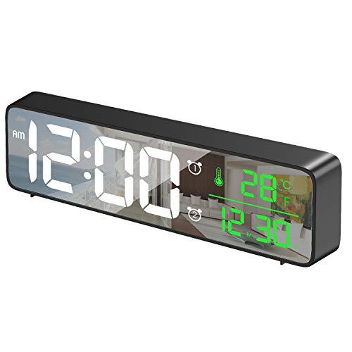 HOTERB Sveglia Digitale a Specchio, sveglie da Comodino Extra Lunghe...