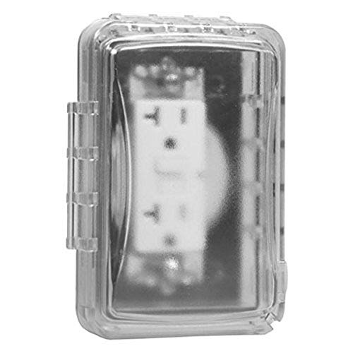 TayMac MM110C Weatherproof Single Outlet Outdoor Receptacle Cover, 5/8 Inches Deep, Clear