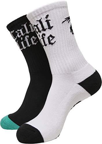 Cayler und Sons Unisex Cali Life 2-Pack Socken, Black/White, 43-46
