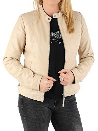 MONOMOI Lederjacke Damen Echtleder kurz, beige, Lederjacke für Damen aus Lammnappa-leder, zeitlos schöne, schlichte Lederjacke für Damen