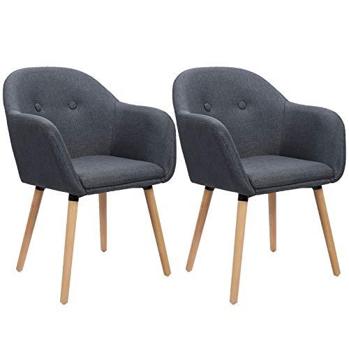 WOLTU Esszimmerstühle BH94dgr-2 2er Set Küchenstuhl Wohnzimmerstuhl Polsterstuhl Design Stuhl mit Armlehne, Sitzfläche aus Leinen, Gestell aus Massivholz, Dunkelgrau