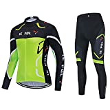 DNJKH Conjunto de Ropa Hombres Maillot Transpirable y Pantalones para Deportes al Aire Libre Ciclo Bicicleta