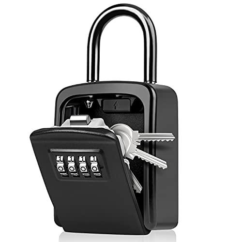 WACCET Caja Seguridad Llaves Combinacion 4 Dígitos Código Caja Fuerte para Llaves con Gancho, Código Reiniciable Caja Seguridad Llaves Exterior para Hogar, Garaje, Escuela, Oficina, Airbnb (Negro)