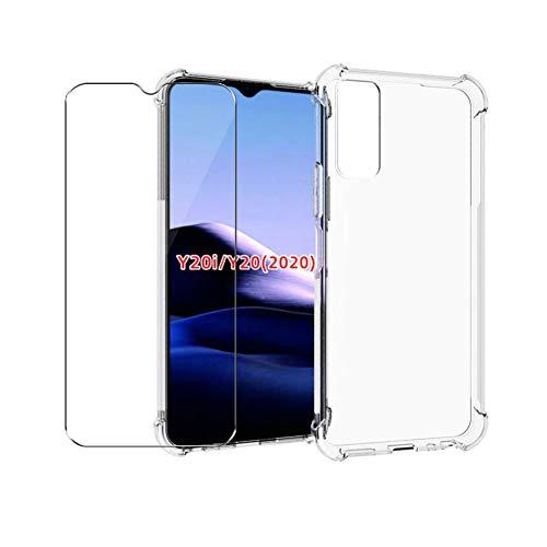 QFSM Transparent Hülle Für Vivo Y20i / Vivo Y20 2020 / Vivo Y20S, TPU Schutzhülle Shell Silikon Weich Airbag Anti-Knock Cover Hülle + 1 Pack Panzerglas Gehärtetes Glas
