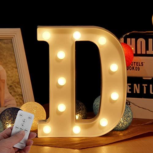 WHATOOK Letras Luminosas Decorativas con Luces LED, con temporizador inalámbrico y mando a distancia regulable, Color Blanco - Letra D