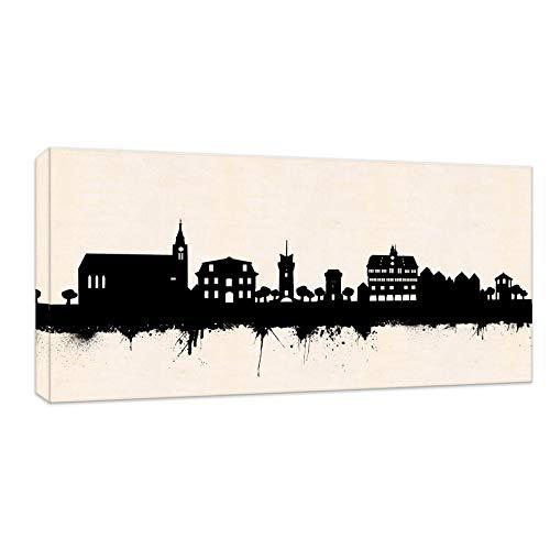 Kunstbruder Tübingen Skyline - SW (div. Größen) Kunst Druck auf Leinwand 70x140cm