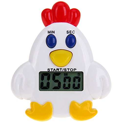 PIXNOR Chicken Kitchen Timer Digital Cooking Timer Clock Sleeping Cooking Reminder Timer with Magnetic Back and Clip