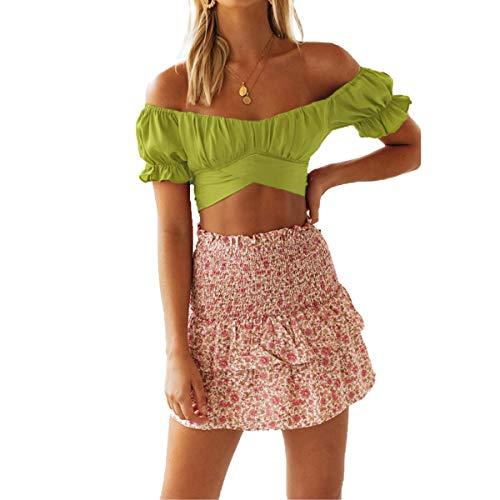N /C Blusa de manga corta para mujer, cuello en V cuadrado con espalda recortada, con cordones, plisada, color sólido