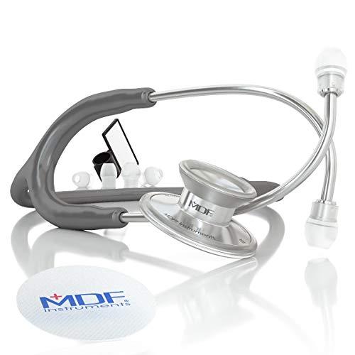 MDF® Instruments MDF747XP-12 Acoustica® Deluxe, Estetoscopio ligero de doble cabeza - Garantía-de-por-vida & Programa-piezas-gratuitas-de-por-vida (Gris)