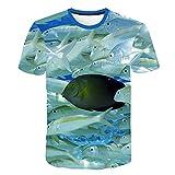 Astemdhj Camiseta de Manga Corta Camisa 3D Camiseta Informal De Pesca Nueva Impresión De Peces 3D Cuello Redondo De Verano De Manga Corta Xxs-6Xl Ropa De Anime 5XL 5811