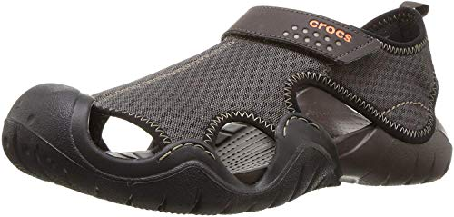 Crocs Men's Swiftwater Mesh Sandal Fisherman, Black/Volt Green, 7 M US