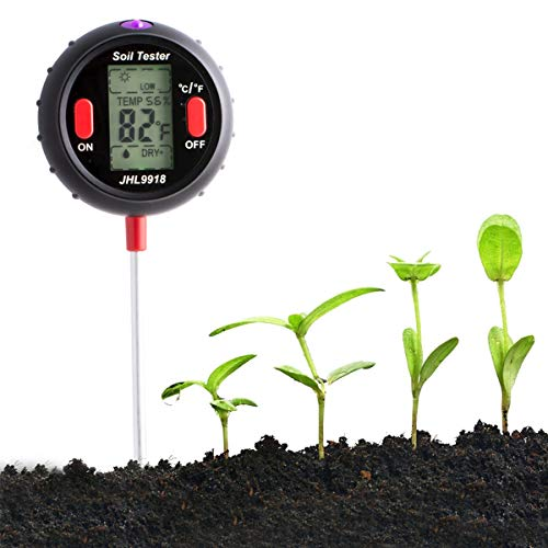 Amposei Test Kit Soil 5-in-1 Soil pH Tester Thermometer Light Moisture & Humidity Meter for Houseplants, Outdoor Lawn and Gardening Plants (Black)