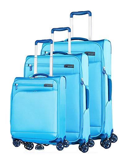 Verage Visionary Reisekoffer Gepäck-Set 3 teilig S-(19.5') + M-(25') + L-(29'),Petrol, 4 Rollen Stoff Trolley mit TSA-Schloss, Handgepäck geeignet für...
