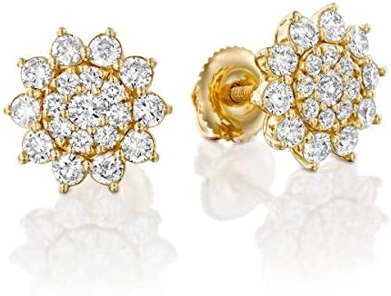 New products, world's highest quality popular! 14k Solid Yellow Gold Discount mail order - Cluster Flower Natu Settings Certified