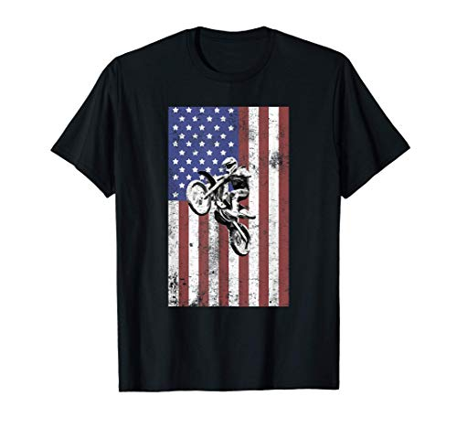 Dirt Bike US Flag Vintage Motocross Motorcycle Racing Gift Camiseta