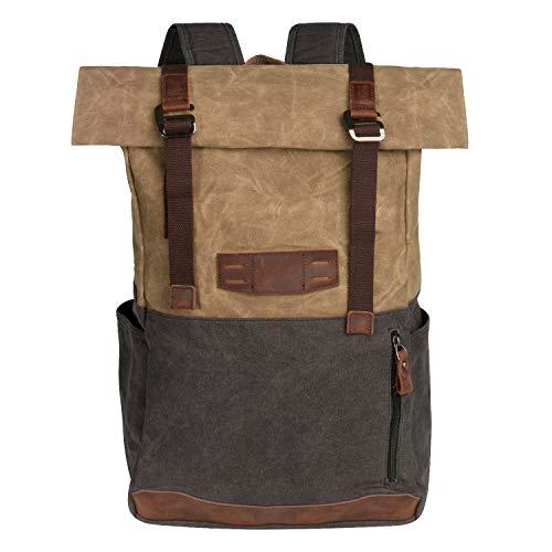 BAWADE Vintage Leder Canvas Rolltop Rucksack, wasserdichte Retro Groß Kapazität Reiserucksack Schultasche Damen Herren für Laptop und Outdoor Reise