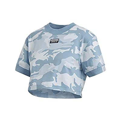 adidas Originals Women's Cropped Tee Sky Tint/Shade Blue/Easy Blue Large