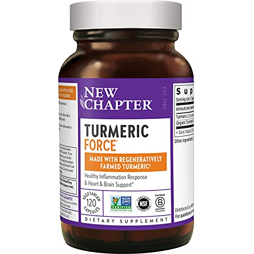 New Chapter Turmeric Supplement, One Daily, Joint Pain Relief + Supercritical Organic Turmeric, Black Pepper Not Needed, Non-GMO, Gluten Free, 120 Count (4 Month Supply)