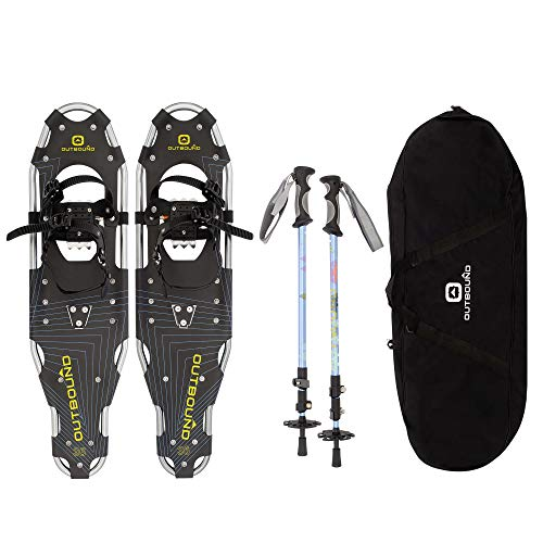 OUTBOUND Snowshoes Kit | Lightweight Aluminum Snowshoes with Adjustable Poles and Bag | Men and Women | 21 Inches