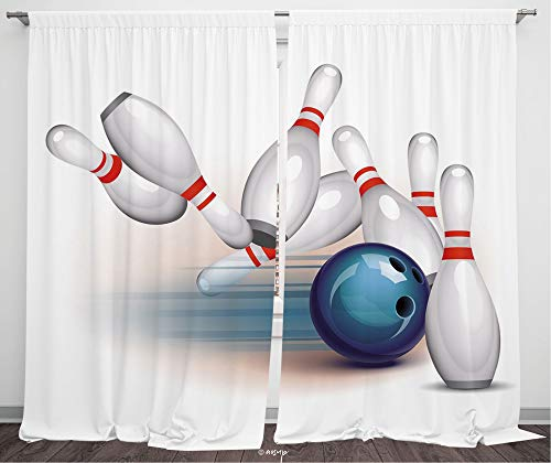 №11927 Blackout Curtains For Bedroom, Thermal Insulated Energy Saving Blackout Curtains / Bowling Party Decorations,Thrown Ball Scattered Pins Speed Hit Target Shot Score Decorative,White Blue Red / 8