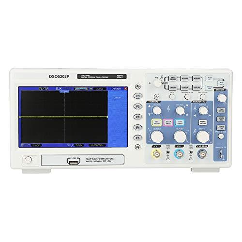 Osciloscopio,Jadpes Osciloscopio digital siglent, AC110-240V 200MHz DSO5202P Pantalla LCD profesional Osciloscopio de almacenamiento digital 2 canales 1GSa/s (enchufe)