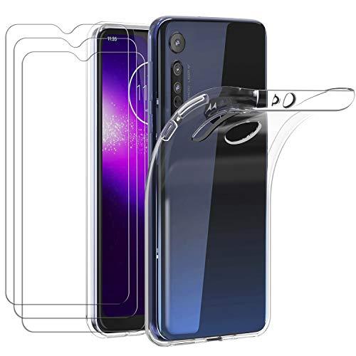 ivoler Hülle für Motorola Moto One Macro + [3 Stück] Panzerglas, Durchsichtig Handyhülle Transparent Silikon TPU Schutzhülle Hülle Cover Premium 9H Hartglas Schutzfolie Glas
