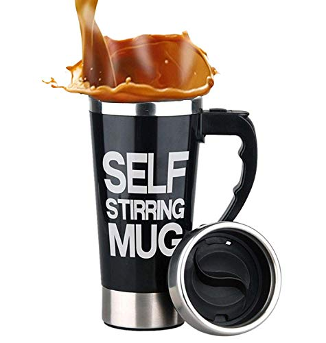 Mengshen Die selbstrührende Tasse Self Stirring Mug - Portable Lazy Auto Mixing Tea Coffee Cup Perfect for Office Home Outdoor Travel Gift 450ml, A008A Black