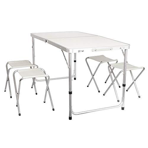 Alu Campingtisch faltbar mit 4 Hocker weiß Koffertisch klappbar Klapptisch Falttisch Camping Tisch höhenverstellbar Gartentisch Set Partytisch