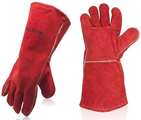 FANTAPLUS 14 Leather Forge Welding Gloves Heat Resistant Wear Resistant Red product image