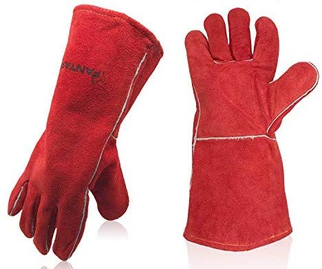 "FANTAPLUS 14""Leather Forge Welding Gloves Heat Resistant Wear Resistant (Red)"