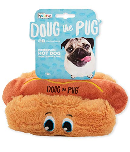 Outward Hound Doug The Pug Incrediplush Hot Dog Squeaky Plush Dog Toy