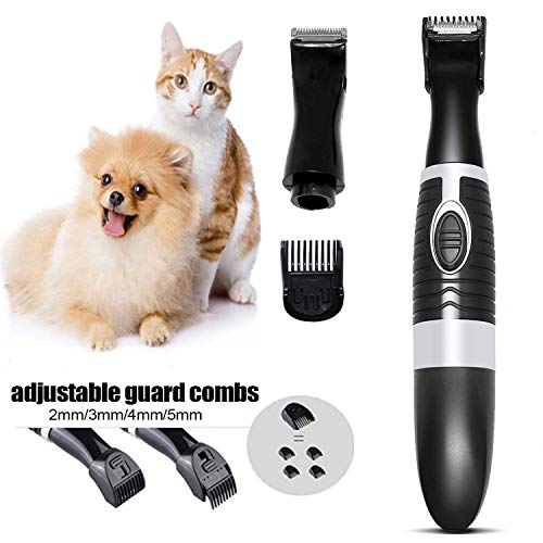 Dog Clippers for Small Dogs, Pet Grooming Clippers with 2 Replaceable Blades and Adjustable Comb Guide, Quiet Light Cat Hair Trimmers for Paws, Rump, Eyes, Face, Ears