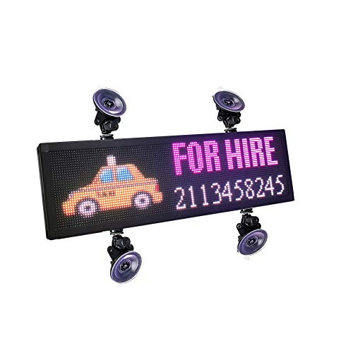 P4 LED Car Sign 12V -36V Led Sign Car Rear Window Message Board 21x6 inch RGB Full Color Indoor LED Sign Support Scrolling Text Image LED Advertising Screen Display Programmable LED Sign