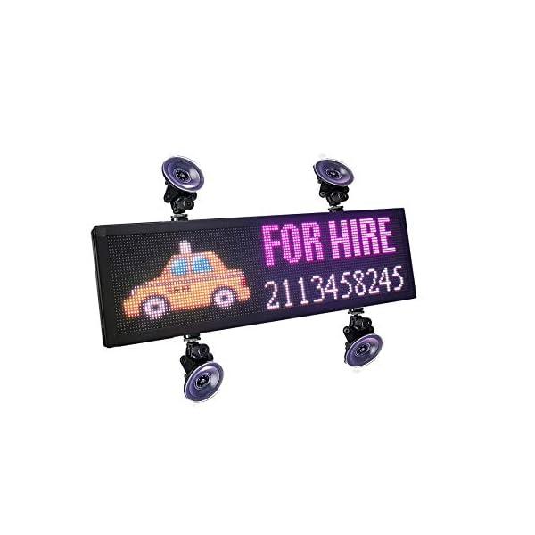 P4 LED Car Sign 12V -36V Led Sign Car Rear Window Message Board 21×6 inch RGB Full Color Indoor LED Sign Support…